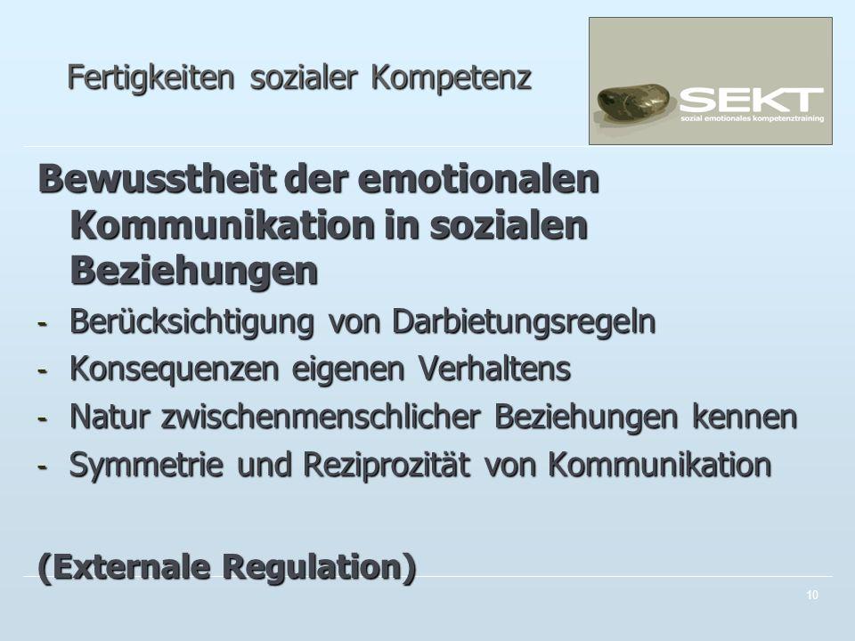 Fertigkeiten sozialer Kompetenz Bewusstheit der emotionalen Kommunikation in sozialen Beziehungen - Berücksichtigung von Darbietungsregeln - Konsequenzen eigenen Verhaltens - Natur zwischenmenschlicher Beziehungen kennen - Symmetrie und Reziprozität von Kommunikation (Externale Regulation) 10
