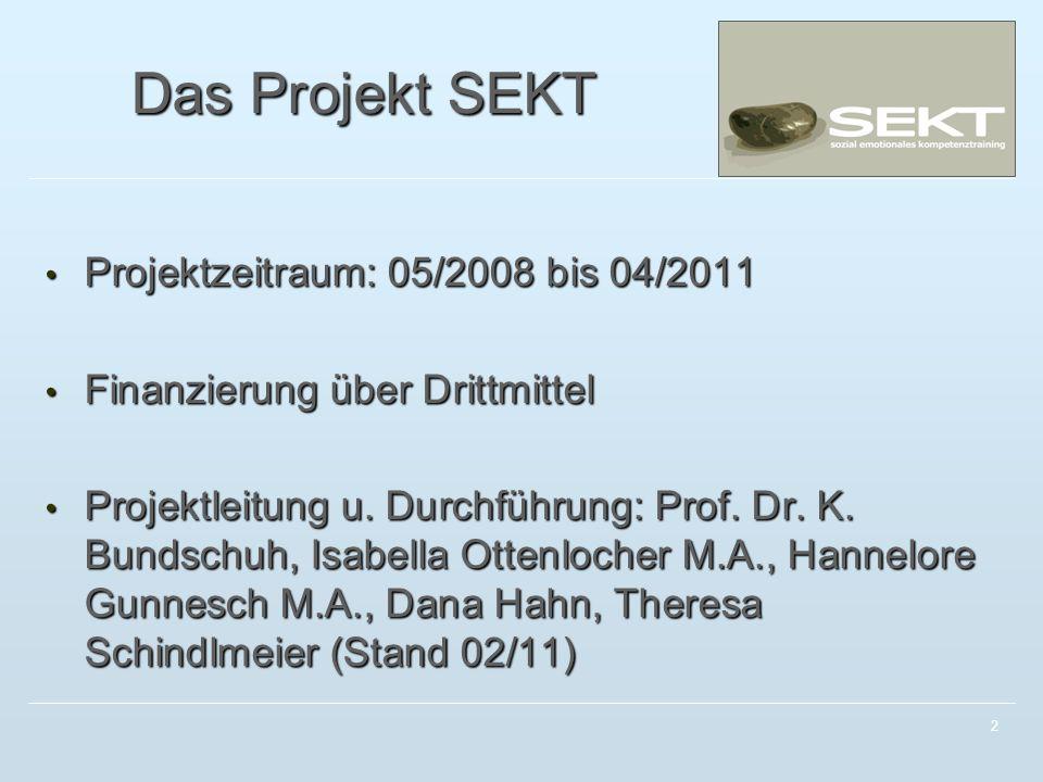 2 Das Projekt SEKT Projektzeitraum: 05/2008 bis 04/2011 Projektzeitraum: 05/2008 bis 04/2011 Finanzierung über Drittmittel Finanzierung über Drittmittel Projektleitung u.