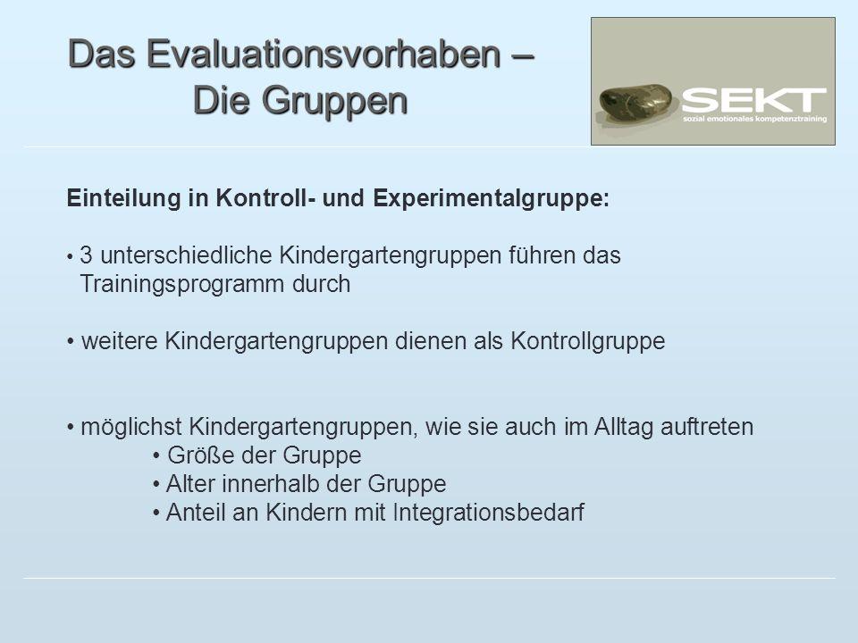 Das Evaluationsvorhaben – Die Gruppen Einteilung in Kontroll- und Experimentalgruppe: 3 unterschiedliche Kindergartengruppen führen das Trainingsprogr
