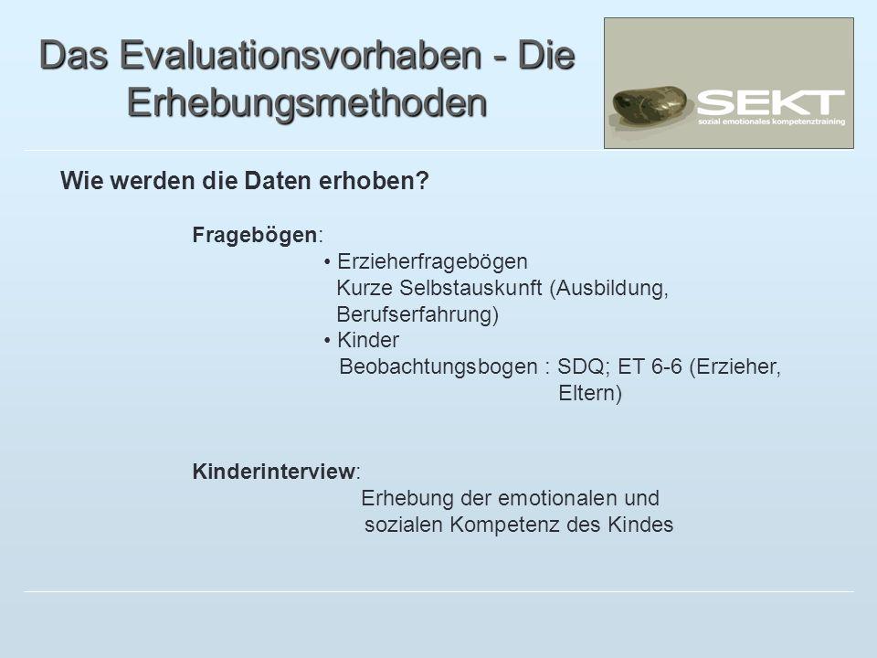Das Evaluationsvorhaben - Die Erhebungsmethoden Wie werden die Daten erhoben? Fragebögen: Erzieherfragebögen Kurze Selbstauskunft (Ausbildung, Berufse
