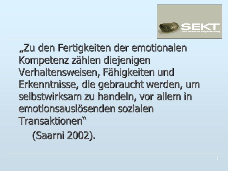 Zu den Fertigkeiten der emotionalen Kompetenz zählen diejenigen Verhaltensweisen, Fähigkeiten und Erkenntnisse, die gebraucht werden, um selbstwirksam zu handeln, vor allem in emotionsauslösenden sozialen Transaktionen Zu den Fertigkeiten der emotionalen Kompetenz zählen diejenigen Verhaltensweisen, Fähigkeiten und Erkenntnisse, die gebraucht werden, um selbstwirksam zu handeln, vor allem in emotionsauslösenden sozialen Transaktionen (Saarni 2002).