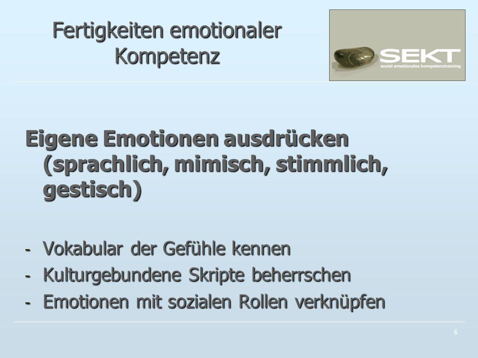 Fertigkeiten emotionaler Kompetenz Eigene Emotionen ausdrücken (sprachlich, mimisch, stimmlich, gestisch) - Vokabular der Gefühle kennen - Kulturgebundene Skripte beherrschen - Emotionen mit sozialen Rollen verknüpfen 6