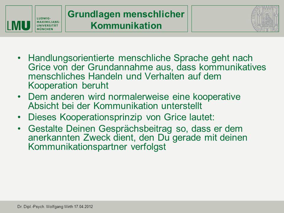 Dr. Dipl.-Psych. Wolfgang Wirth 17.04.2012 Handlungsorientierte menschliche Sprache geht nach Grice von der Grundannahme aus, dass kommunikatives mens