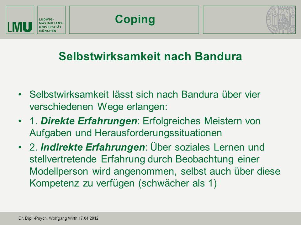 Dr.Dipl.-Psych. Wolfgang Wirth 17.04.2012 Selbstwirksamkeit nach Bandura 3.