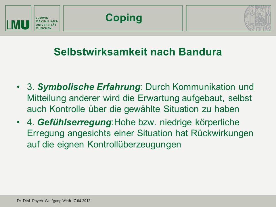 Dr.Dipl.-Psych. Wolfgang Wirth 17.04.2012 Selbstwirksamkeit nach Bandura 1.