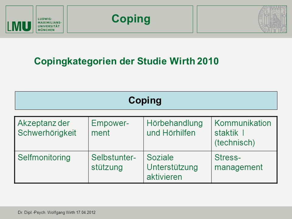 Dr. Dipl.-Psych. Wolfgang Wirth 17.04.2012 Ergebnisse Coping eigene Untersuchung Coping