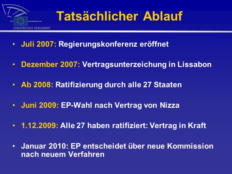 Tatsächlicher Ablauf Juli 2007: Regierungskonferenz eröffnet Dezember 2007: Vertragsunterzeichung in Lissabon Ab 2008: Ratifizierung durch alle 27 Staaten Juni 2009: EP-Wahl nach Vertrag von Nizza 1.12.2009: Alle 27 haben ratifiziert: Vertrag in Kraft Januar 2010: EP entscheidet über neue Kommission nach neuem Verfahren
