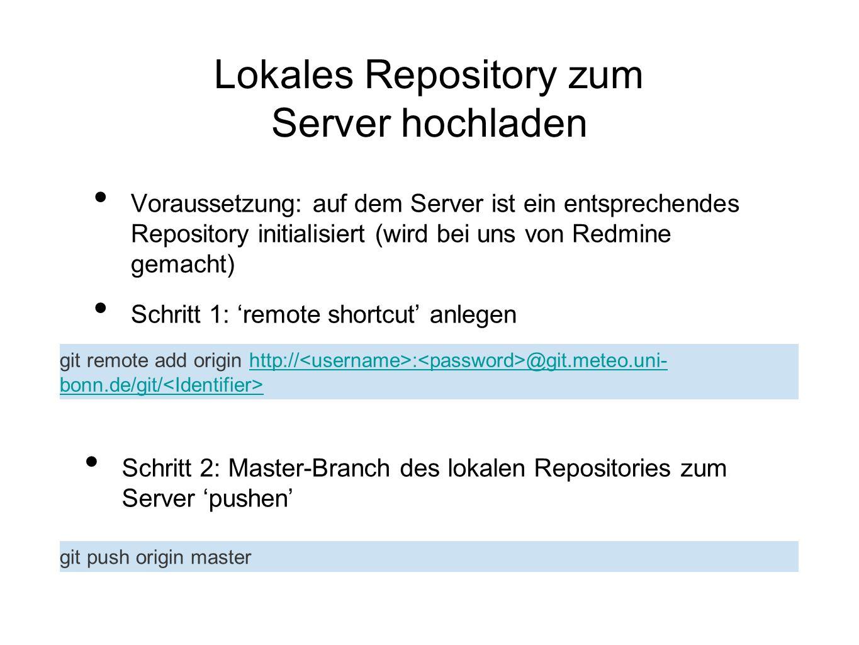 Lokales Repository zum Server hochladen Voraussetzung: auf dem Server ist ein entsprechendes Repository initialisiert (wird bei uns von Redmine gemach
