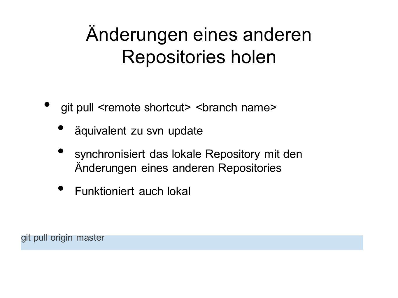Änderungen eines anderen Repositories holen git pull äquivalent zu svn update synchronisiert das lokale Repository mit den Änderungen eines anderen Re