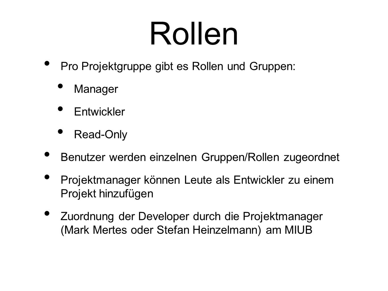 Rollen Pro Projektgruppe gibt es Rollen und Gruppen: Manager Entwickler Read-Only Benutzer werden einzelnen Gruppen/Rollen zugeordnet Projektmanager k
