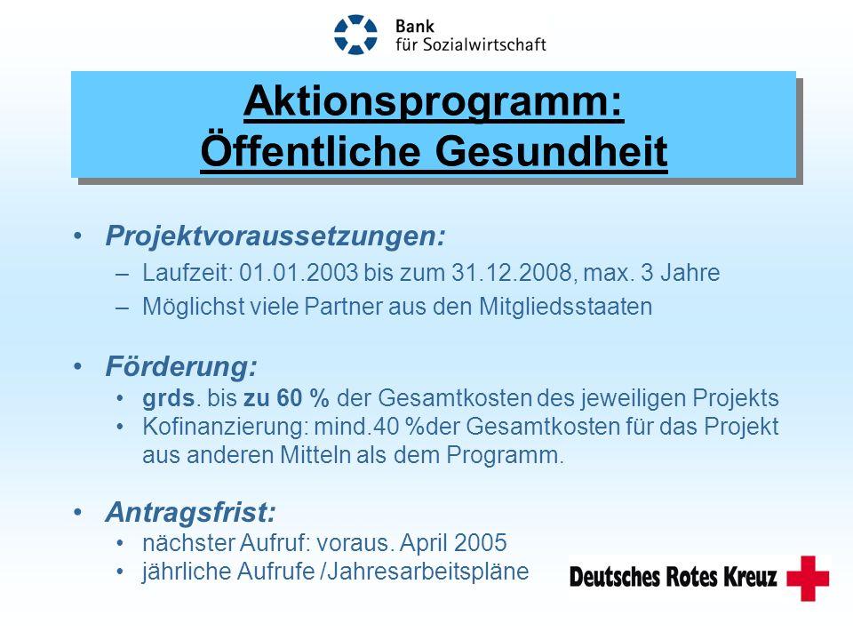 Projektvoraussetzungen: –Laufzeit: 01.01.2003 bis zum 31.12.2008, max.