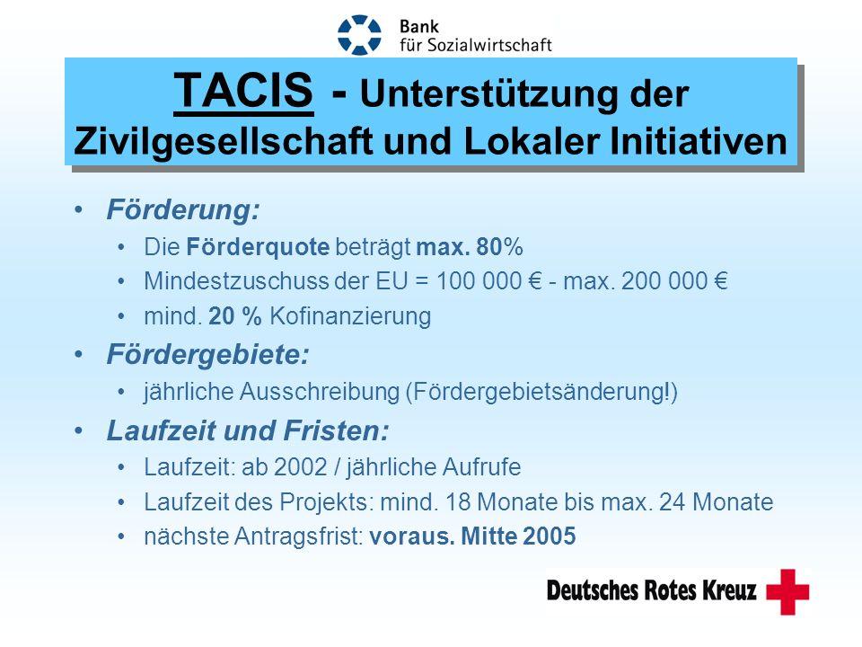 Förderung: Die Förderquote beträgt max. 80% Mindestzuschuss der EU = 100 000 - max.