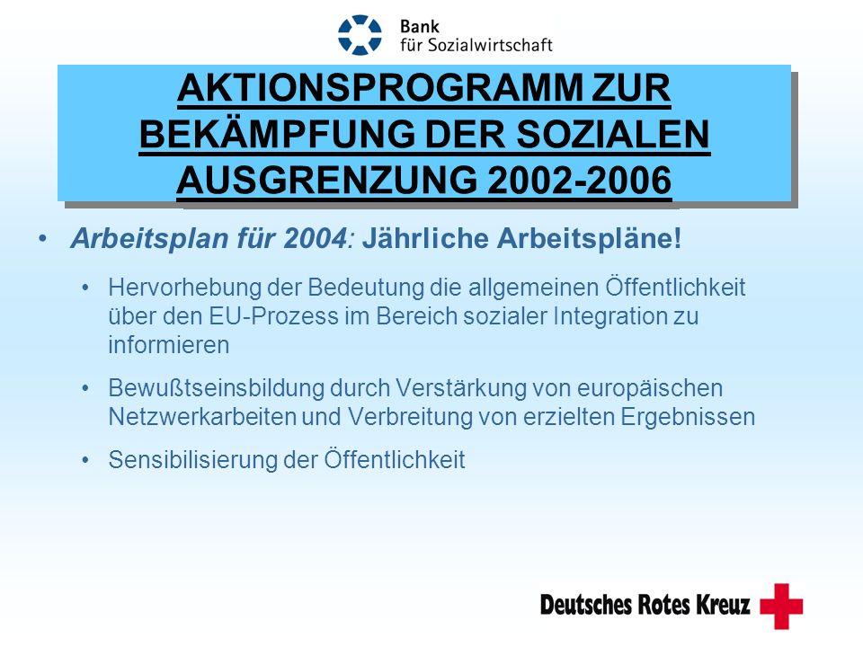 AKTIONSPROGRAMM ZUR BEKÄMPFUNG DER SOZIALEN AUSGRENZUNG 2002-2006 Arbeitsplan für 2004: Jährliche Arbeitspläne.
