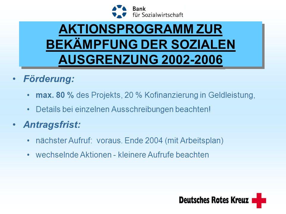 AKTIONSPROGRAMM ZUR BEKÄMPFUNG DER SOZIALEN AUSGRENZUNG 2002-2006 Förderung: max.