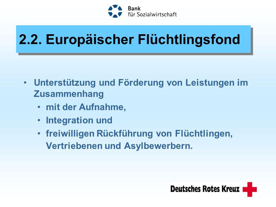 2.2. Europäischer Flüchtlingsfond Unterstützung und Förderung von Leistungen im Zusammenhang mit der Aufnahme, Integration und freiwilligen Rückführun