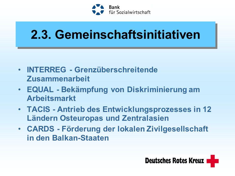 INTERREG - Grenzüberschreitende Zusammenarbeit EQUAL - Bekämpfung von Diskriminierung am Arbeitsmarkt TACIS - Antrieb des Entwicklungsprozesses in 12 Ländern Osteuropas und Zentralasien CARDS - Förderung der lokalen Zivilgesellschaft in den Balkan-Staaten 2.3.