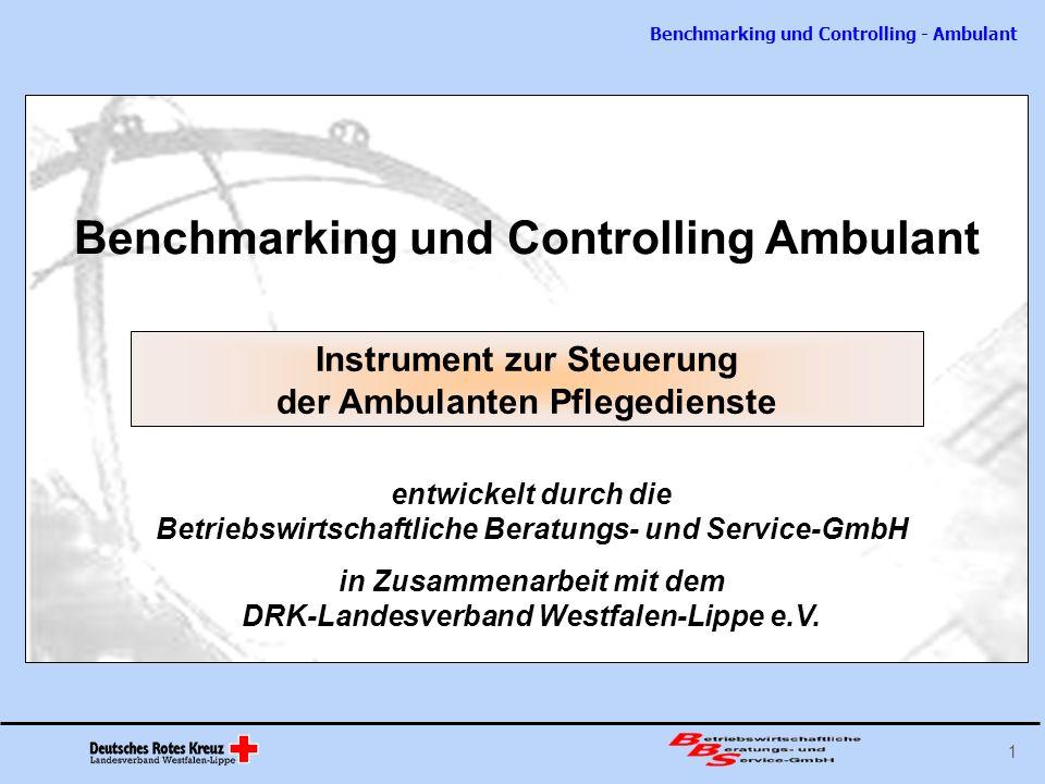 Benchmarking und Controlling - Ambulant 12 Spitzenkennzahl Kennzahlen Wichtige Sachverhalte werden in ihrem zeitlichen Verlauf zusätzlich durch Kennzahlen komprimiert dargestellt.