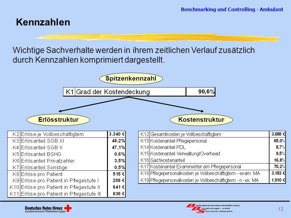 Benchmarking und Controlling - Ambulant 12 Spitzenkennzahl Kennzahlen Wichtige Sachverhalte werden in ihrem zeitlichen Verlauf zusätzlich durch Kennza