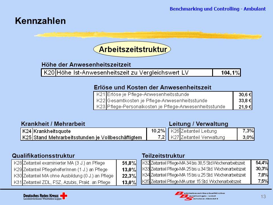 Benchmarking und Controlling - Ambulant 13 Kennzahlen Arbeitszeitstruktur Höhe der Anwesenheitszeitzeit Erlöse und Kosten der Anwesenheitszeit Krankhe