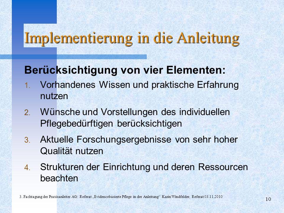 Berücksichtigung von vier Elementen: 1.Vorhandenes Wissen und praktische Erfahrung nutzen 2.