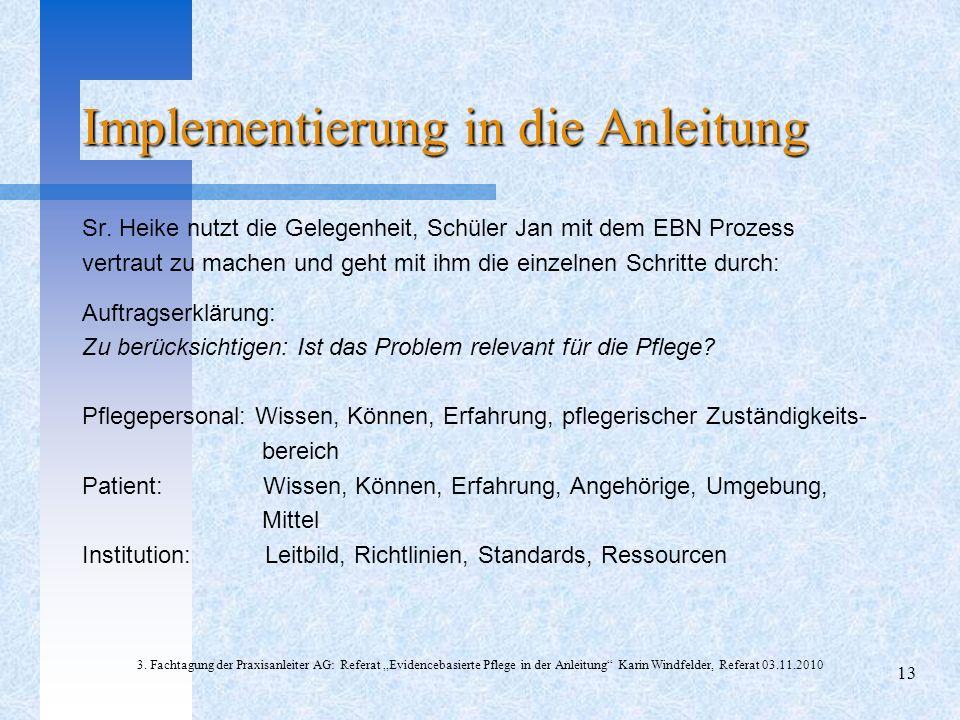 Implementierung in die Anleitung Sr. Heike nutzt die Gelegenheit, Schüler Jan mit dem EBN Prozess vertraut zu machen und geht mit ihm die einzelnen Sc