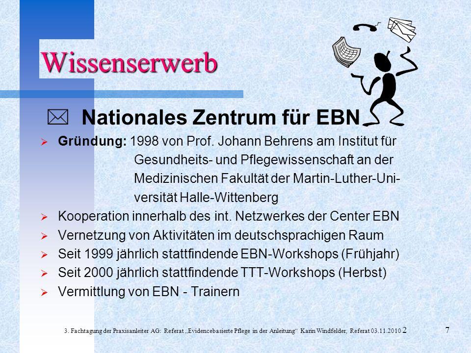 Nationales Zentrum für EBN Gründung: 1998 von Prof. Johann Behrens am Institut für Gesundheits- und Pflegewissenschaft an der Medizinischen Fakultät d