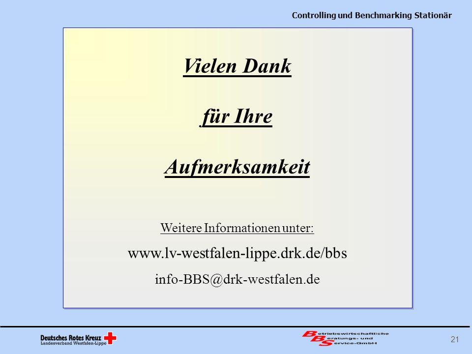 Controlling und Benchmarking Stationär 21 Vielen Dank für Ihre Aufmerksamkeit Weitere Informationen unter: www.lv-westfalen-lippe.drk.de/bbs info-BBS@