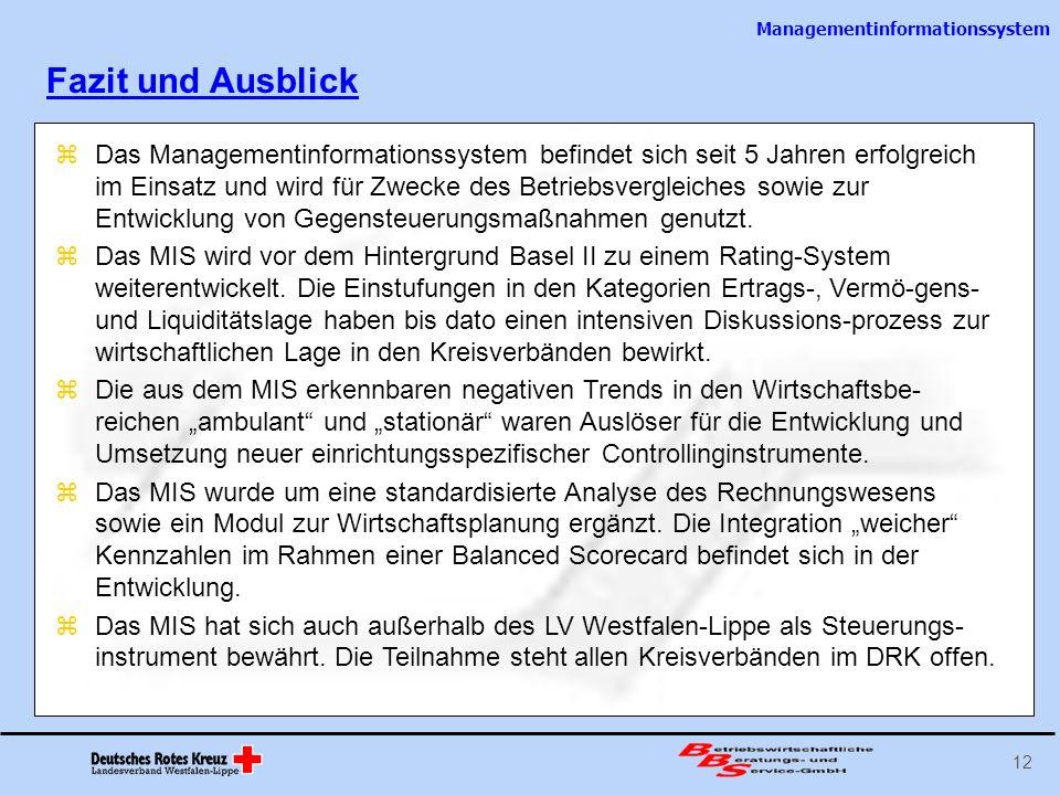 Managementinformationssystem 12 Das Managementinformationssystem befindet sich seit 5 Jahren erfolgreich im Einsatz und wird für Zwecke des Betriebsve