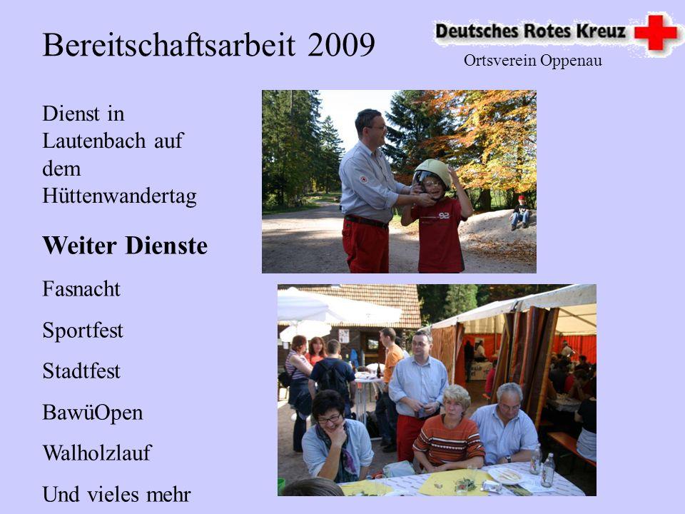 Ortsverein Oppenau Blutspende: Spenderzahl 443 Einsatzstunden über 335 Unter der Leitung von Anita Huber Blutspende 2009 in Oppenau