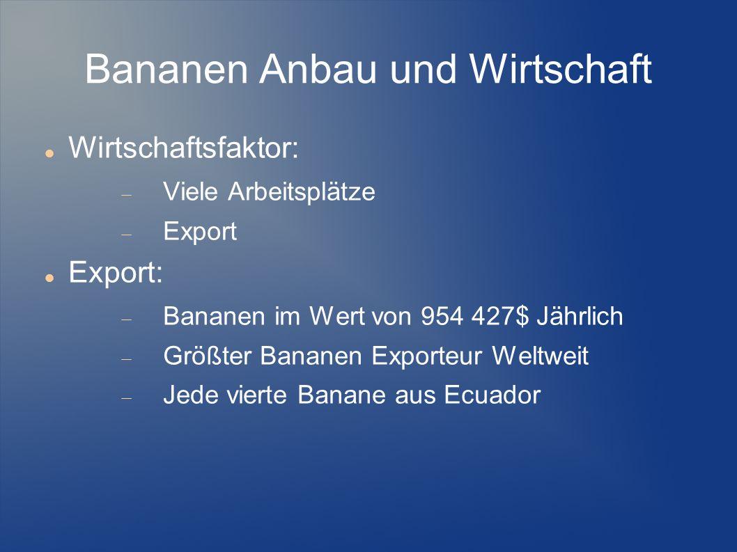 Wirtschaftsfaktor: Viele Arbeitsplätze Export Export: Bananen im Wert von 954 427$ Jährlich Größter Bananen Exporteur Weltweit Jede vierte Banane aus
