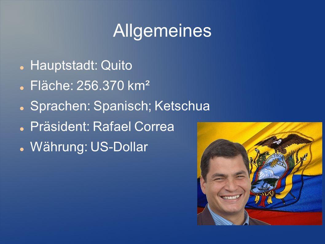 Allgemeines Hauptstadt: Quito Fläche: 256.370 km² Sprachen: Spanisch; Ketschua Präsident: Rafael Correa Währung: US-Dollar