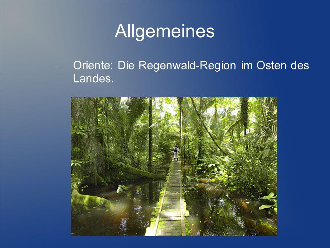 Allgemeines Klima: Abhängig von der Region. Tropisch wechselhaft und niederschlagsreich