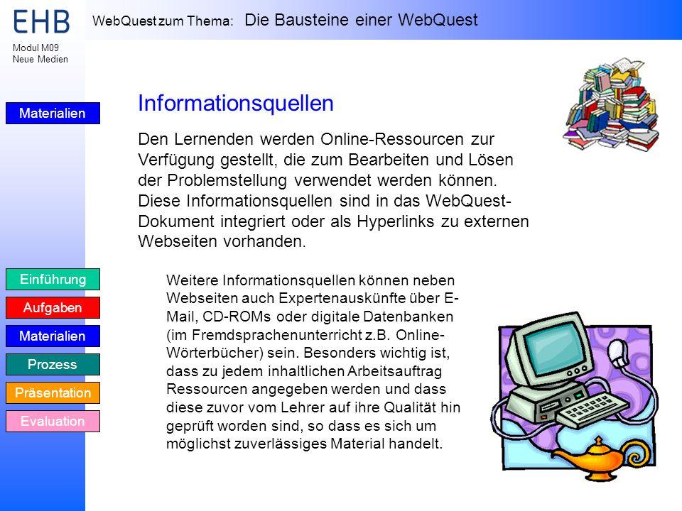 WebQuest zum Thema: Die Bausteine einer WebQuest Einführung Aufgaben Materialien Prozess Präsentation Evaluation Modul M09 Neue Medien Materialien Inf