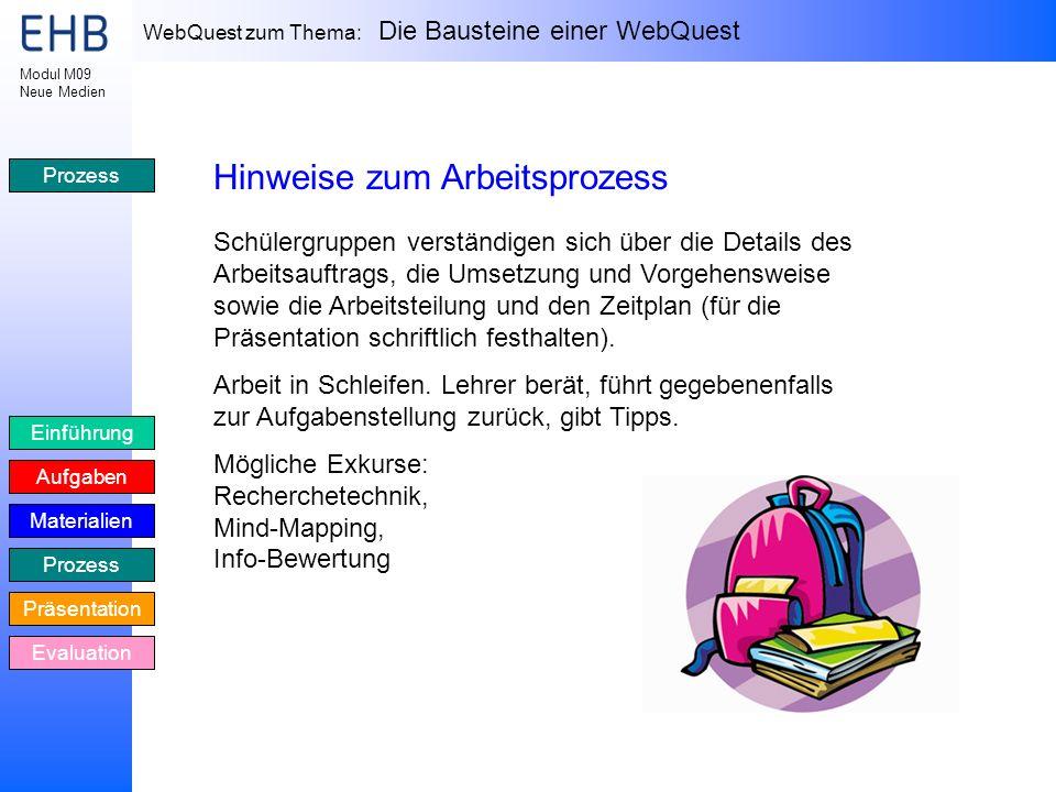 WebQuest zum Thema: Die Bausteine einer WebQuest Einführung Aufgaben Materialien Prozess Präsentation Evaluation Modul M09 Neue Medien Prozess Hinweis