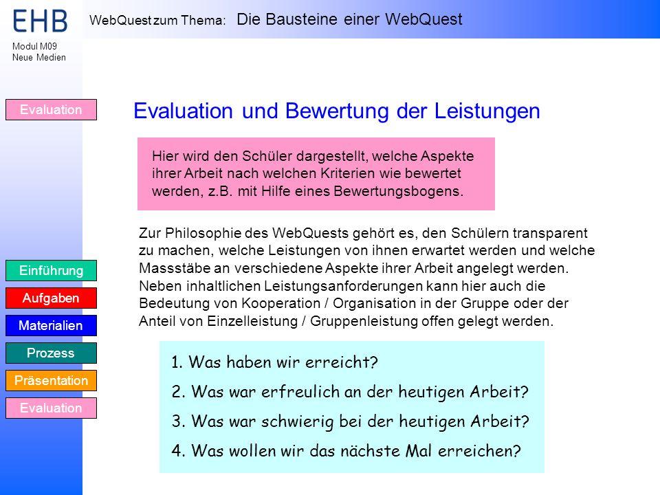 WebQuest zum Thema: Die Bausteine einer WebQuest Einführung Aufgaben Materialien Prozess Präsentation Evaluation Modul M09 Neue Medien Evaluation Eval