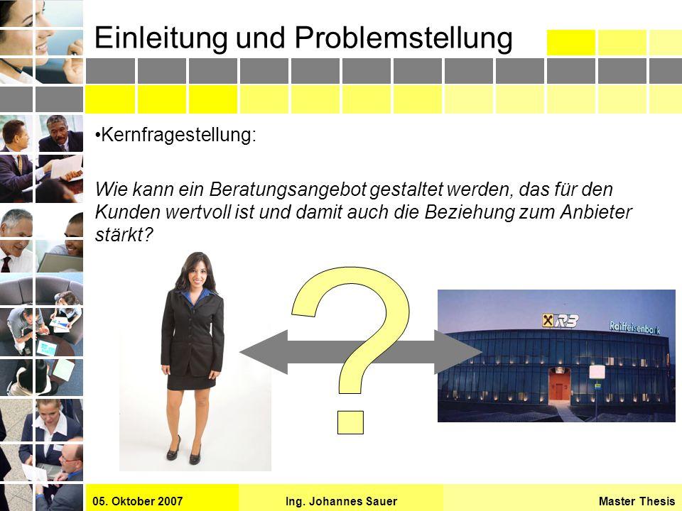 Master ThesisIng. Johannes Sauer05. Oktober 2007 Einleitung und Problemstellung Kernfragestellung: Wie kann ein Beratungsangebot gestaltet werden, das