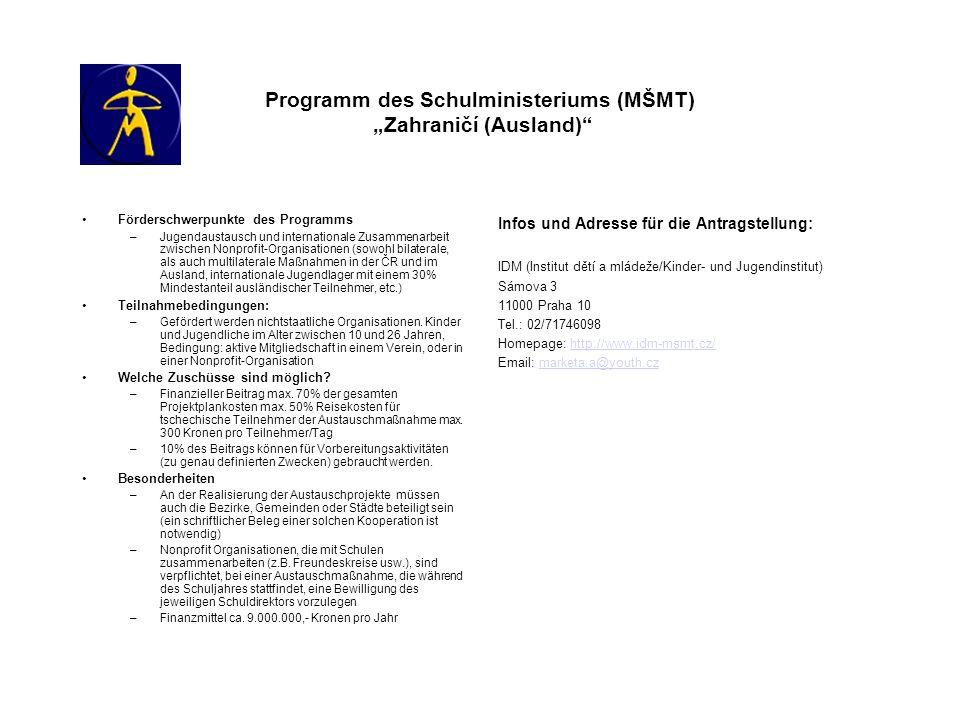 Programm des Schulministeriums (MŠMT) Zahraničí (Ausland) Förderschwerpunkte des Programms –Jugendaustausch und internationale Zusammenarbeit zwischen