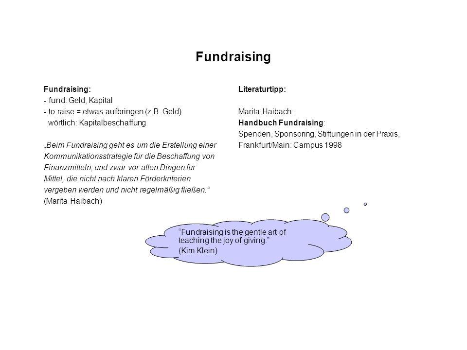 Fundraising Fundraising: - fund: Geld, Kapital - to raise = etwas aufbringen (z.B. Geld) wörtlich: Kapitalbeschaffung Beim Fundraising geht es um die