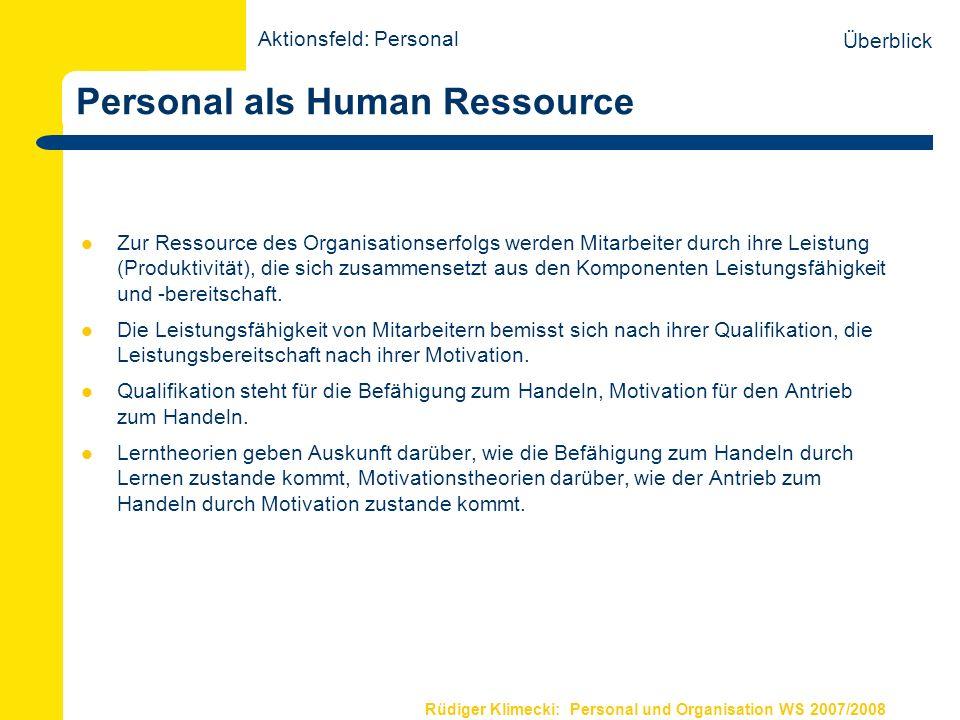 Rüdiger Klimecki: Personal und Organisation WS 2007/2008 Personal als Human Ressource Zur Ressource des Organisationserfolgs werden Mitarbeiter durch