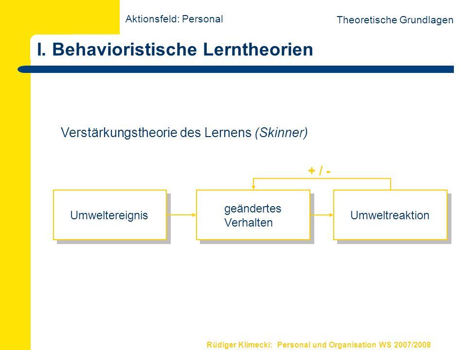 Rüdiger Klimecki: Personal und Organisation WS 2007/2008 I. Behavioristische Lerntheorien Theoretische Grundlagen geändertes Verhalten Umweltereignis