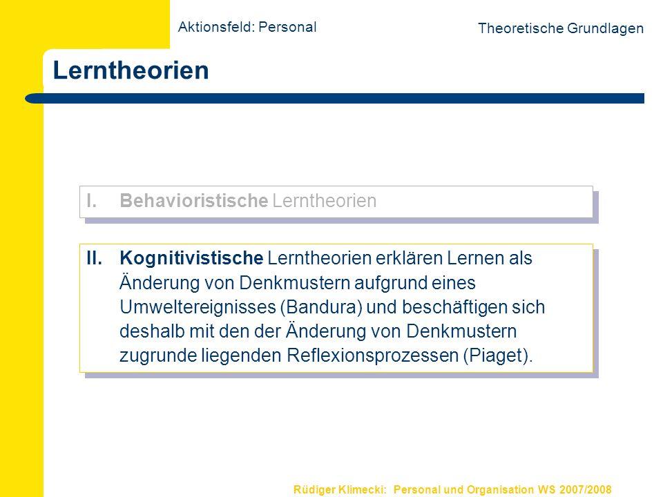 Rüdiger Klimecki: Personal und Organisation WS 2007/2008 Lerntheorien Theoretische Grundlagen I.Behavioristische Lerntheorien II. Kognitivistische Ler