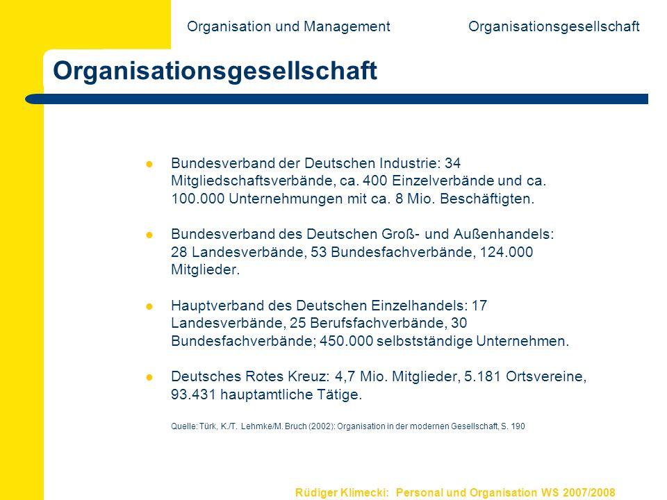 Rüdiger Klimecki: Personal und Organisation WS 2007/2008 Organisationsgesellschaft Bundesverband der Deutschen Industrie: 34 Mitgliedschaftsverbände,