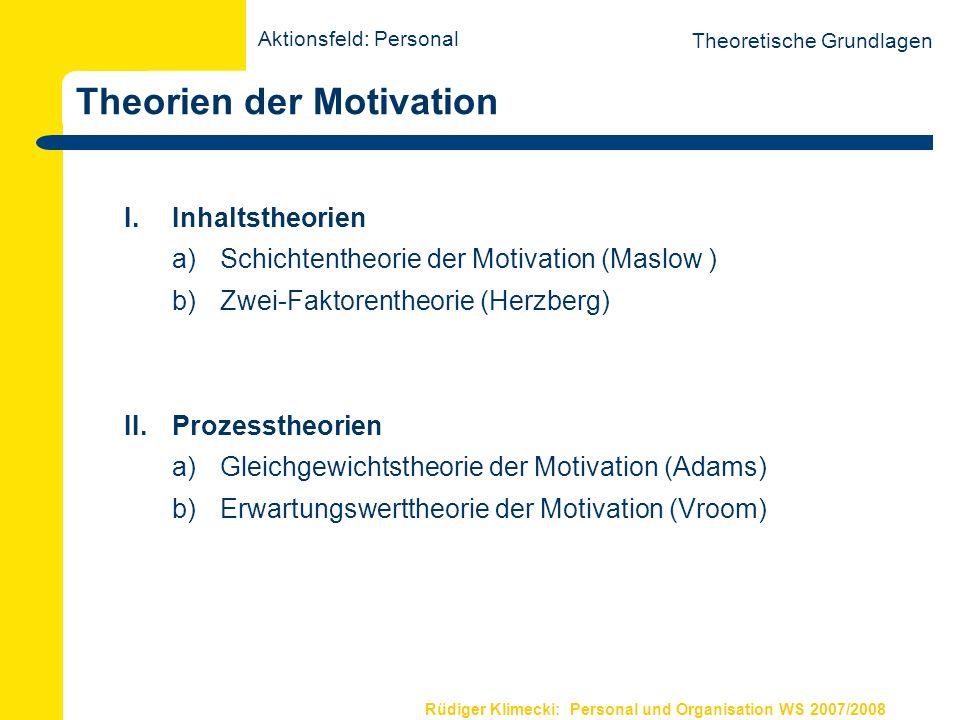 Rüdiger Klimecki: Personal und Organisation WS 2007/2008 Theorien der Motivation I. Inhaltstheorien a) Schichtentheorie der Motivation (Maslow ) b)Zwe
