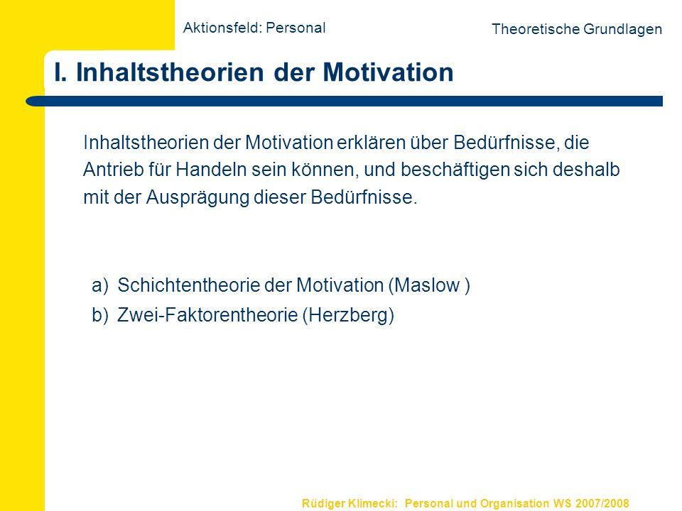 Rüdiger Klimecki: Personal und Organisation WS 2007/2008 I. Inhaltstheorien der Motivation Theoretische Grundlagen Inhaltstheorien der Motivation erkl