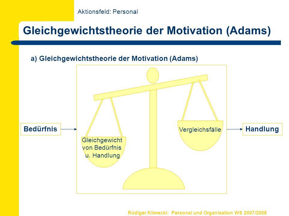Rüdiger Klimecki: Personal und Organisation WS 2007/2008 Gleichgewichtstheorie der Motivation (Adams) a) Gleichgewichtstheorie der Motivation (Adams)