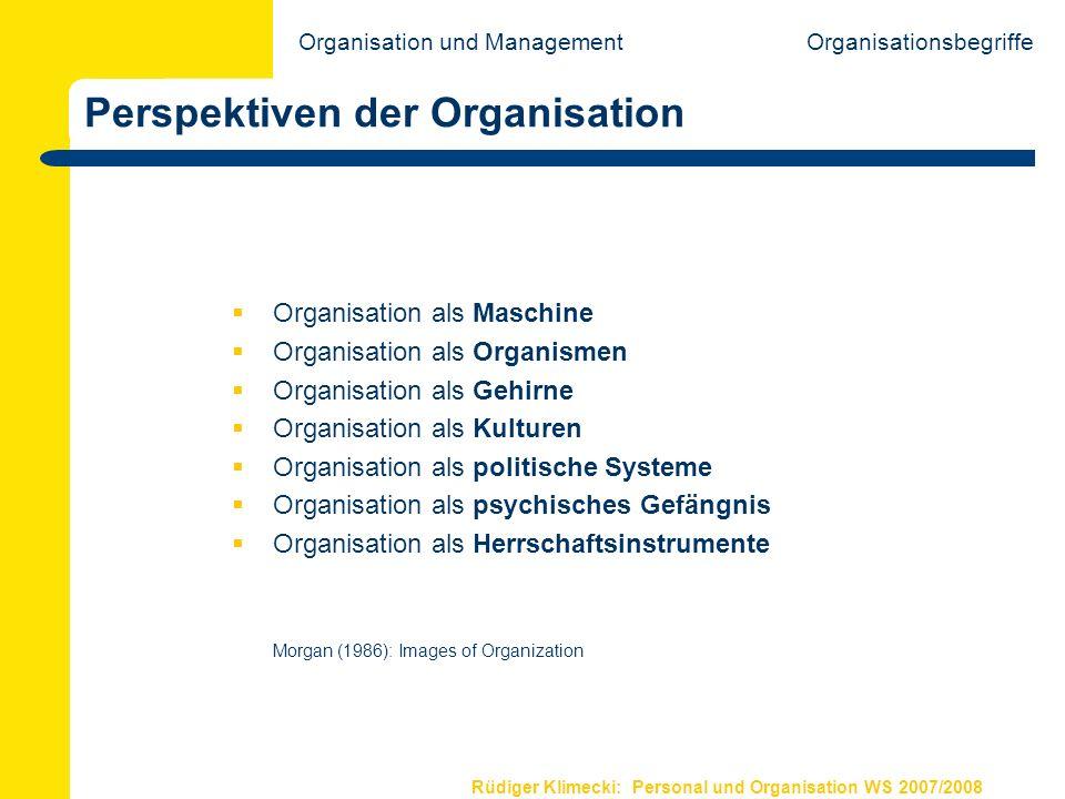 Rüdiger Klimecki: Personal und Organisation WS 2007/2008 Perspektiven der Organisation Organisation als Maschine Organisation als Organismen Organisat