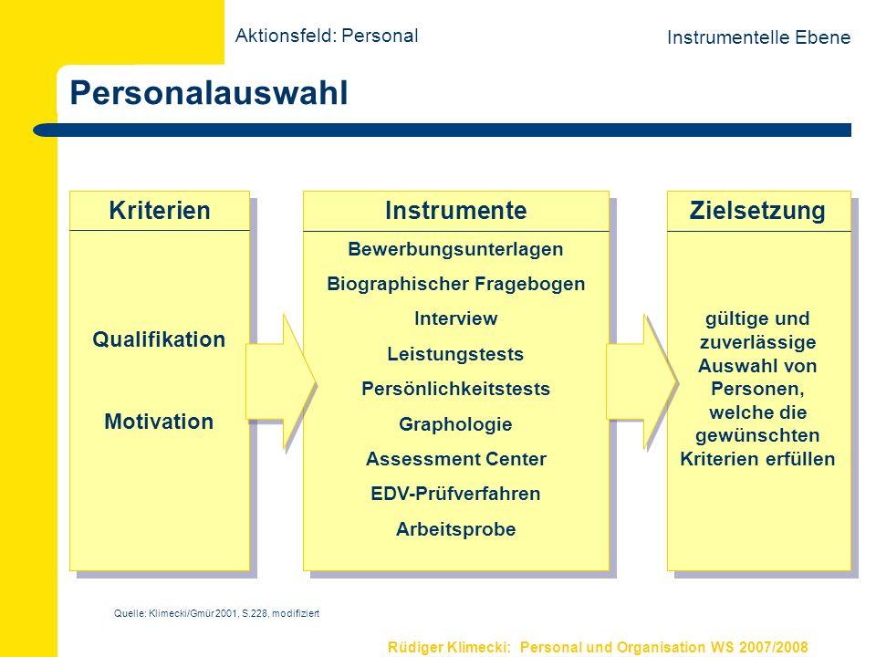 Rüdiger Klimecki: Personal und Organisation WS 2007/2008 Personalauswahl Kriterien Qualifikation Motivation Kriterien Qualifikation Motivation Instrum