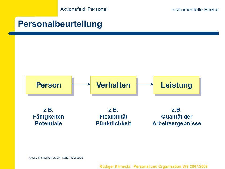 Rüdiger Klimecki: Personal und Organisation WS 2007/2008 Personalbeurteilung Instrumentelle Ebene Person Verhalten Leistung z.B. Fähigkeiten Potential