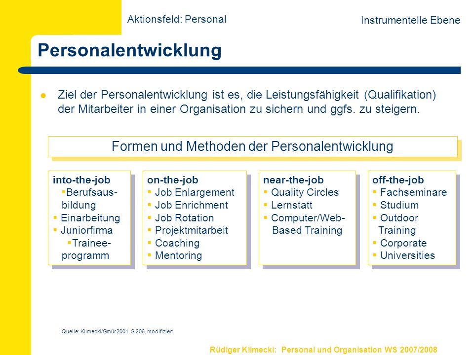 Rüdiger Klimecki: Personal und Organisation WS 2007/2008 Personalentwicklung Ziel der Personalentwicklung ist es, die Leistungsfähigkeit (Qualifikatio