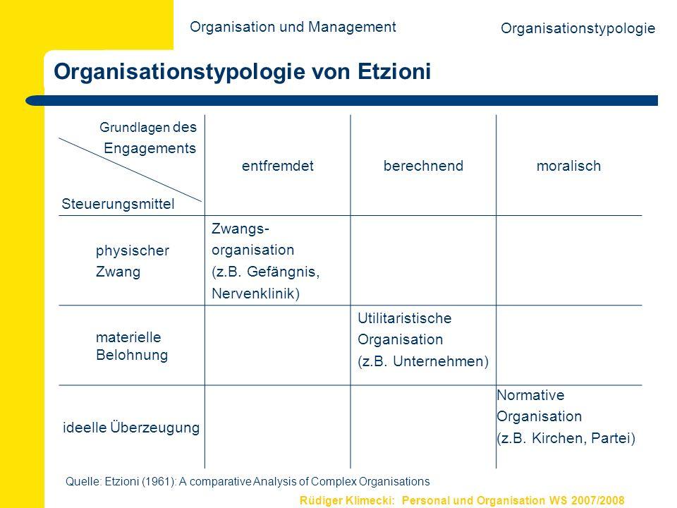 Rüdiger Klimecki: Personal und Organisation WS 2007/2008 Organisationstypologie von Etzioni Organisationstypologie Grundlagen des Engagements Steuerun